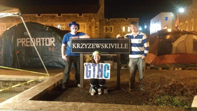 Me after the game with two of my band friends who tented as well. I had an awesome 5 weeks in Krzyzewskiville black tenting!